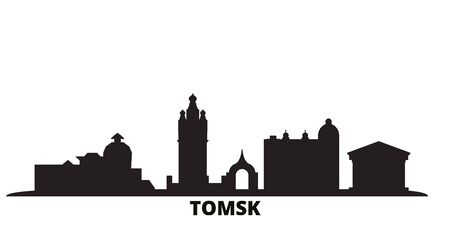 Russia, Tomsk city skyline isolated vector illustration. Russia, Tomsk travel cityscape with landmarks