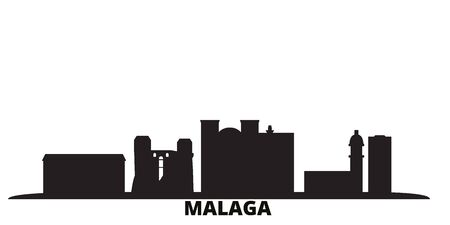 Spain, Malaga city skyline isolated vector illustration. Spain, Malaga travel cityscape with landmarks