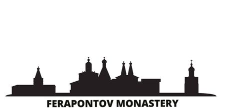 Russia, Vologda, Ferapontov Monastery city skyline isolated vector illustration. Russia, Vologda, Ferapontov Monastery travel cityscape with landmarks