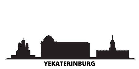 Russia, Yekaterinburg City city skyline isolated vector illustration. Russia, Yekaterinburg City travel cityscape with landmarks Illustration