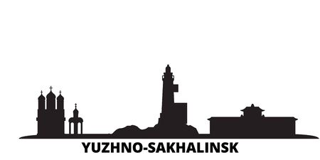 Russia, Yuzhno Sakhalinsk city skyline isolated vector illustration. Russia, Yuzhno Sakhalinsk travel cityscape with landmarks