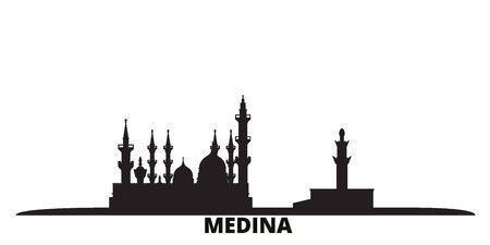 Saudi Arabia, Medina city skyline isolated vector illustration. Saudi Arabia, Medina travel cityscape with landmarks