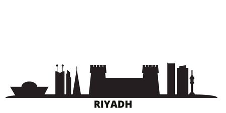 Saudi Arabia, Riyadh city skyline isolated vector illustration. Saudi Arabia, Riyadh travel cityscape with landmarks