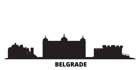 Serbia, Belgrade city skyline isolated vector illustration. Serbia, Belgrade travel cityscape with landmarks
