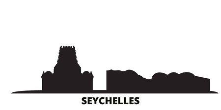 Seychelles city skyline isolated vector illustration. Seychelles travel cityscape with landmarks Illustration