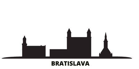 Slovakia, Bratislava city skyline isolated vector illustration. Slovakia, Bratislava travel cityscape with landmarks