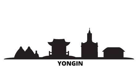 South Korea, Yongin city skyline isolated vector illustration. South Korea, Yongin travel cityscape with landmarks