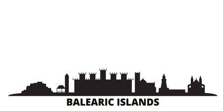 Spain, Balearis Islands city skyline isolated vector illustration. Spain, Balearis Islands travel cityscape with landmarks