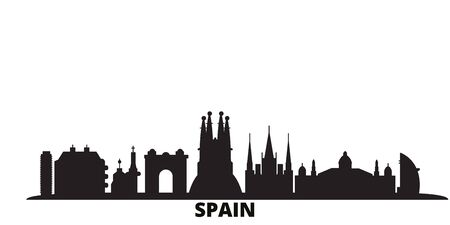 Spain, Barcelona city skyline isolated vector illustration. Spain, Barcelona travel cityscape with landmarks Çizim