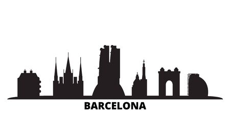 Spain, Barcelona City city skyline isolated vector illustration. Spain, Barcelona City travel cityscape with landmarks