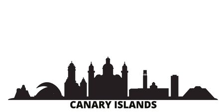 Spain, Canary Islands city skyline isolated vector illustration. Spain, Canary Islands travel cityscape with landmarks Ilustração