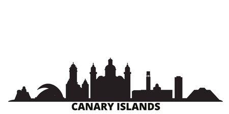 Spain, Canary Islands city skyline isolated vector illustration. Spain, Canary Islands travel cityscape with landmarks Illustration