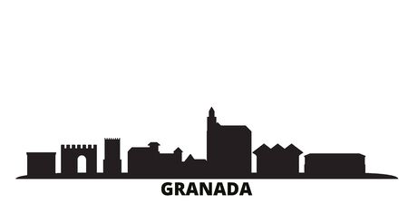 Spain, Granada city skyline isolated vector illustration. Spain, Granada travel cityscape with landmarks Stock fotó - 134610972