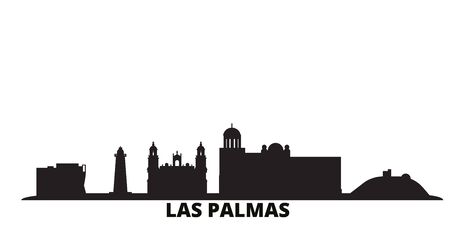 Spain, Las Palmas city skyline isolated vector illustration. Spain, Las Palmas travel cityscape with landmarks Ilustração