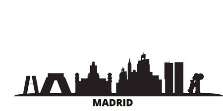 Spain, Madrid City city skyline isolated vector illustration. Spain, Madrid City travel cityscape with landmarks Çizim