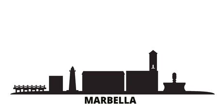 Spain, Marbella city skyline isolated vector illustration. Spain, Marbella travel cityscape with landmarks