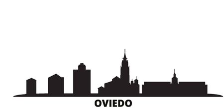 Spain, Oviedo city skyline isolated vector illustration. Spain, Oviedo travel cityscape with landmarks
