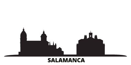 Spain, Salamanca city skyline isolated vector illustration. Spain, Salamanca travel cityscape with landmarks