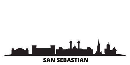 Spain, San Sebastian city skyline isolated vector illustration. Spain, San Sebastian travel cityscape with landmarks