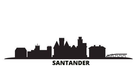 Spain, Santander city skyline isolated vector illustration. Spain, Santander travel cityscape with landmarks