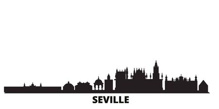 Spain, Seville city skyline isolated vector illustration. Spain, Seville travel cityscape with landmarks