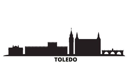 Spain, Toledo city skyline isolated vector illustration. Spain, Toledo travel cityscape with landmarks