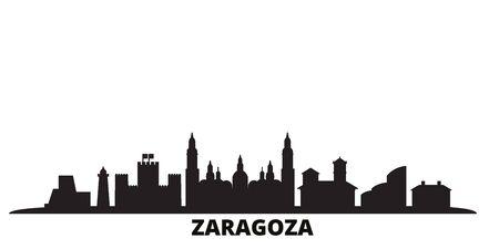 Spain, Zaragoza city skyline isolated vector illustration. Spain, Zaragoza travel cityscape with landmarks