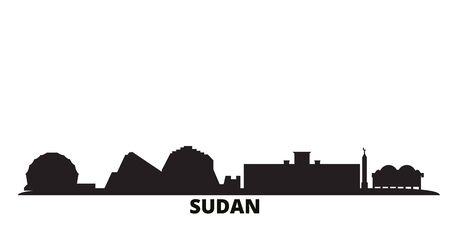 Sudan city skyline isolated vector illustration. Sudan travel cityscape with landmarks