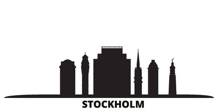 Sweden, Stockholm city skyline isolated vector illustration. Sweden, Stockholm travel cityscape with landmarks