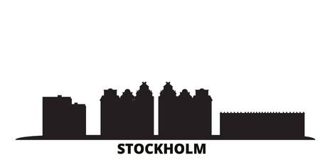 Sweden, Stockholm City city skyline isolated vector illustration. Sweden, Stockholm City travel cityscape with landmarks