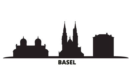 Switzerland, Basel city skyline isolated vector illustration. Switzerland, Basel travel cityscape with landmarks Illustration