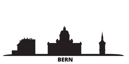 Switzerland, Bern city skyline isolated vector illustration. Switzerland, Bern travel cityscape with landmarks