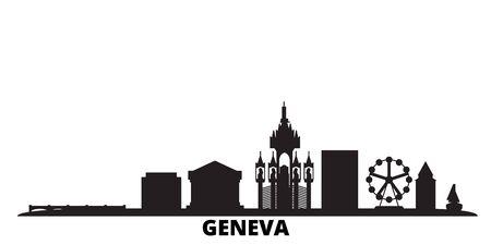 Suiza, el horizonte de la ciudad de Ginebra aislado ilustración vectorial. Suiza, Ginebra viajes ciudad de monumentos