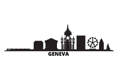 Switzerland, Geneva city skyline isolated vector illustration. Switzerland, Geneva travel cityscape with landmarks Иллюстрация
