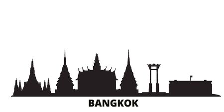Thailand, Bangkok city skyline isolated vector illustration. Thailand, Bangkok travel cityscape with landmarks