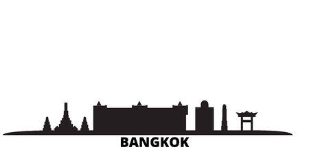 Thailand, Bangkok City city skyline isolated vector illustration. Thailand, Bangkok City travel cityscape with landmarks