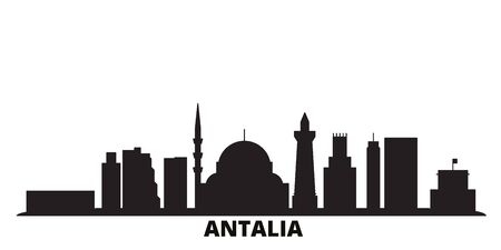 Turkey, Antalia city skyline isolated vector illustration. Turkey, Antalia travel cityscape with landmarks Illustration