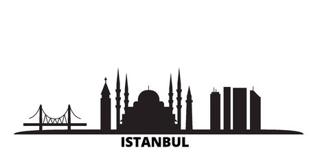Turkey, Istanbul city skyline isolated vector illustration. Turkey, Istanbul travel cityscape with landmarks