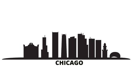 United States, Chicago city skyline isolated vector illustration. United States, Chicago travel cityscape with landmarks  イラスト・ベクター素材