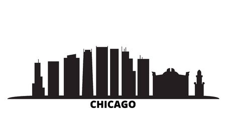 United States, Chicago City city skyline isolated vector illustration. United States, Chicago City travel cityscape with landmarks