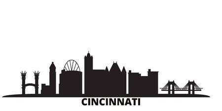 United States, Cincinnati city skyline isolated vector illustration. United States, Cincinnati travel cityscape with landmarks 向量圖像
