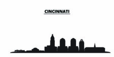 United States, Cincinnati City city skyline isolated vector illustration. United States, Cincinnati City travel cityscape with landmarks