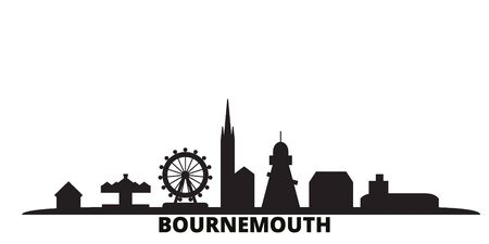 United Kingdom, Bournemouth city skyline isolated vector illustration. United Kingdom, Bournemouth travel cityscape with landmarks Illustration