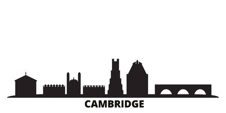 United Kingdom, Cambridge city skyline isolated vector illustration. United Kingdom, Cambridge travel cityscape with landmarks