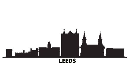 United Kingdom, Leeds city skyline isolated vector illustration. United Kingdom, Leeds travel cityscape with landmarks Ilustração