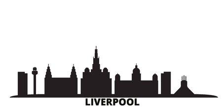 United Kingdom, Liverpool city skyline isolated vector illustration. United Kingdom, Liverpool travel cityscape with landmarks  イラスト・ベクター素材