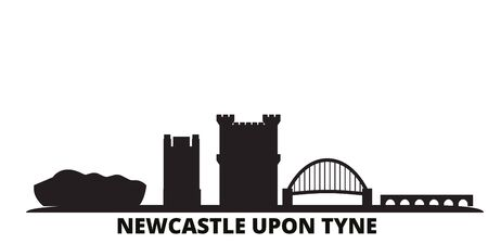 United Kingdom, Newcastle Upon Tyne city skyline isolated vector illustration. United Kingdom, Newcastle Upon Tyne travel cityscape with landmarks