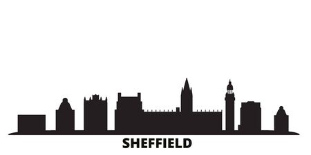 United Kingdom, Sheffield city skyline isolated vector illustration. United Kingdom, Sheffield travel cityscape with landmarks Ilustração