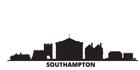 United Kingdom, Southampton city skyline isolated vector illustration. United Kingdom, Southampton travel cityscape with landmarks