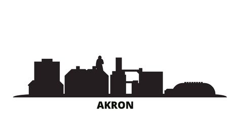 United States, Akron city skyline isolated vector illustration. United States, Akron travel cityscape with landmarks